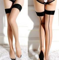 VINTAGE RETRO SEAMED STOCKINGS WITH CUBAN HEEL 40'S 50'S